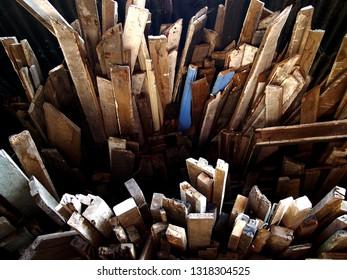 Photo of scrap wood at a junkyard