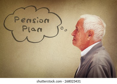 photo of senior man thinking about pension plan.