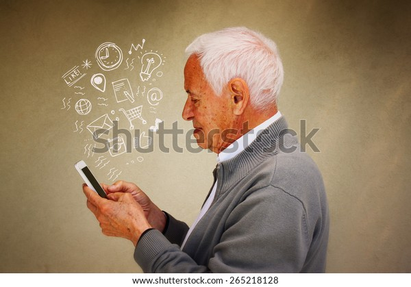 photo of senior man using smartphone with set of social media infographics