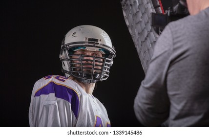 Photo session of an American football player