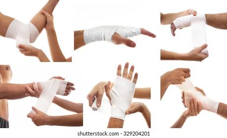 Photo set with bandage.Pain concept. Isolated on white background
