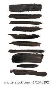 Photo set black grunge brush strokes oil paint isolated on white background