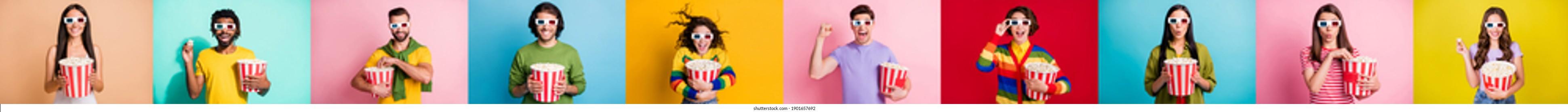 Photo set collage creative design many people watching new movie quarantine eat corns isolated colorful background