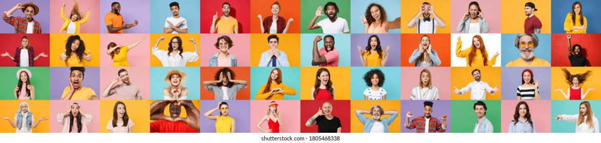 Photo set collage of faces of multiethnic diverse emotional people, men and women group different ages wearing casual clothes isolated on colorful background studio portraits. Human facial expression