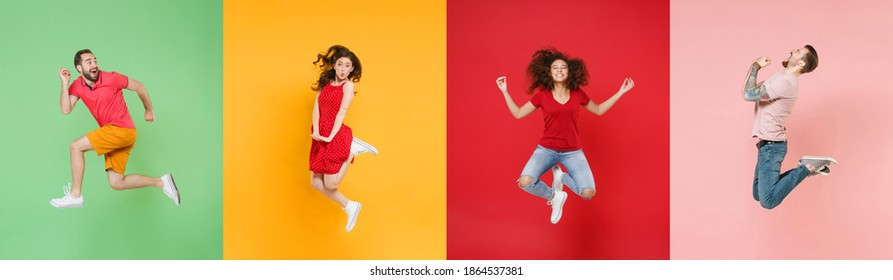 Photo set collage of four excited multiethnic expressive happy young people group wearing t-shirts having fun, jumping or fly up in air different poses isolated on colorful background studio portraits