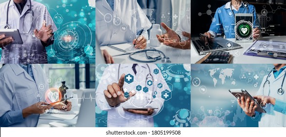 Photo set of Doctor working and modern virtual screen interface icons, healthcare And Medicine concept.