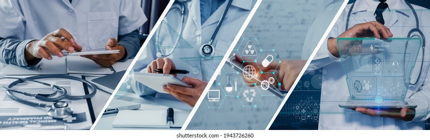 Photo set of healthcare And Medicine concept. Doctor and digital technology modern virtual screen interface.