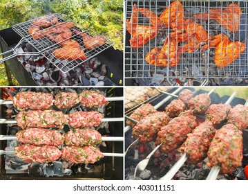 Photo set of picnic. Meat kebab and a chicken prepared on coals.