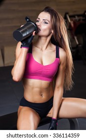 photo set of sporty muscular female brunette girl