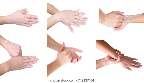 photo set of woman hand washing her hands isolated on white with clipping path.