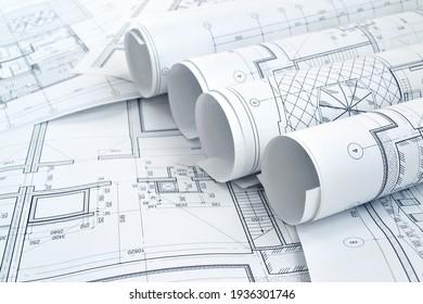 Foto von mehreren Zeichnungen für die Arbeiten des Projektingenieurs