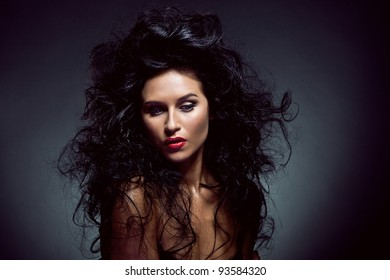 Photo of sexy beautiful woman with magnificent hair