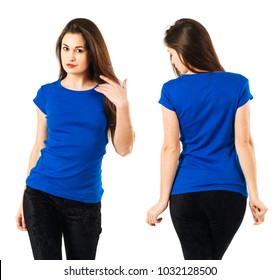 Photo of a sexy young woman posing with a blank blue shirt, front and back.