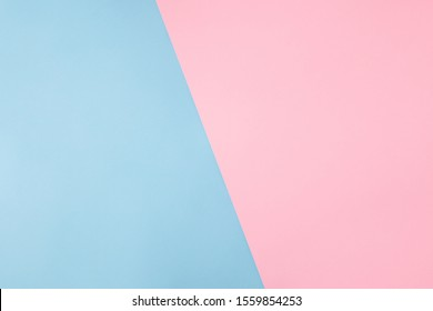 Photo of shared divided into two parts background harmonically soft pastel colored empty space for filling text idea banner billboard pink and blue colors