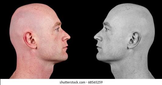 photo shaved bald man side portrait