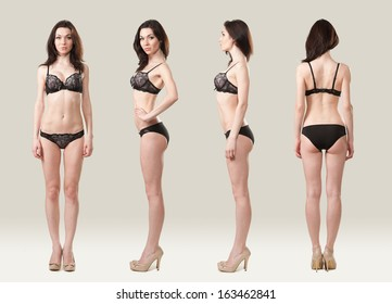 In the photo she is in black lingerie. Front, side and rear.