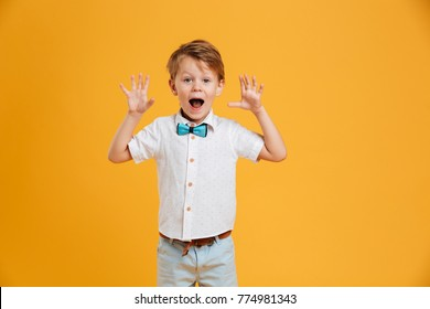 Photo of shocked little boy child standing isolated over yellow background. Looking camera.