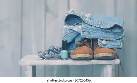 Photo of shoes on wooden background