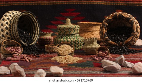 Photo shoot of Mexican handcrafts from Chihuahua and a rug from Oaxaca.
