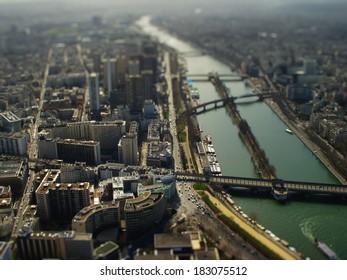 The  photo show the Paris with tilt-shift filter.