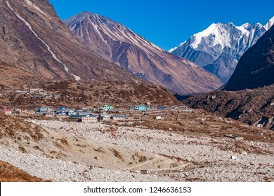 The photo shows the Langtang village, which is rebuilt after the earthquake 2015. The foreground shows the rubbish of the earthquake, which has burried over threehundred people and their houses.