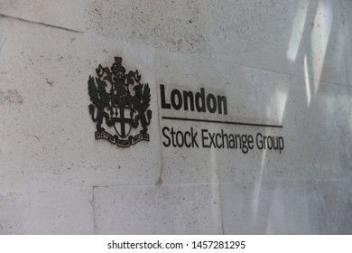 The photo shows the logo of the London Stock Exchange Group hung on the wall. London / England - July 2019