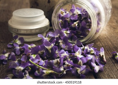 The photo shows petal flower in jar