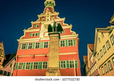 The photo shows the picturesque night scene of the old townhall of Esslingen at the Neckar river in Germany