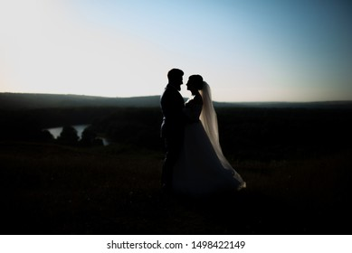 Photo of silhouette, bride and groom in eveningon top fo the hill