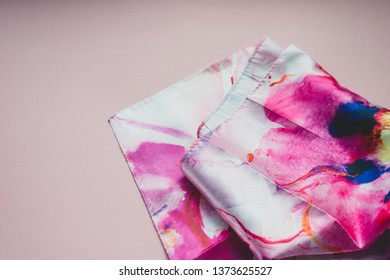 Photo silk fabric. Silk scarf with bright abstract print