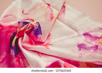 Photo silk fabric. Silk scarf with bright abstract print/toned photo