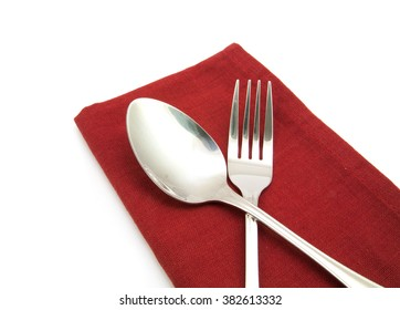 photo silverware fork napkin isolated on white