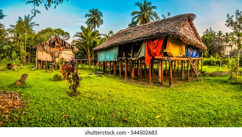 Photo of simple houses made of straw and wood in Avatip, Sepik river in Papua New Guinea. In this region, one can only meet people from isolated local tribes.