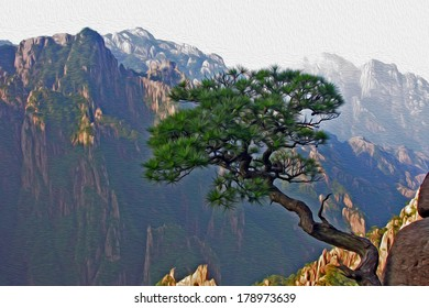 Photo of a single pine growing from the rock in the background of Huangshan (Yellow Mountains) in China, stylized and filtered to look like an oil painting.