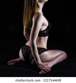 Photo of sitting girl in lace underwear