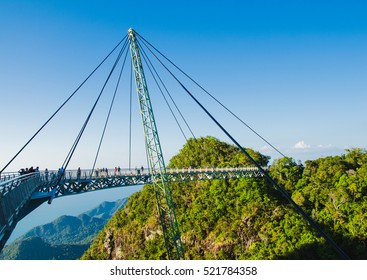 Photo of the Sky bridge symbol Langkawi island. Adventure holiday. Modern construction. Tourist attraction. Travel concept.