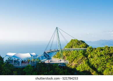 Photo of the Sky bridge, view from cable car, Langkawi Malaysia. Tourist attraction, travel, vacation and adventure holiday concept. Copy space