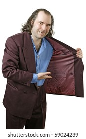 Photo of a sleazy drug dealer showing you what he has in his jacket.  Add your own drugs, merchandise, or whatever your vice my be.