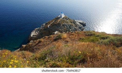 Photo from small Chapel of Epta Martyres with stunning views to the Aegean, village of Kastro, island of Sifnos, Cyclades, Greece