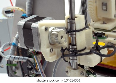 Photo of the  small machine detail. 3D printer