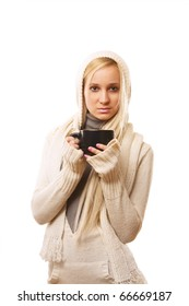 Photo of a smiling female holding a coffee, hot chocolate, or tea isolated on white background