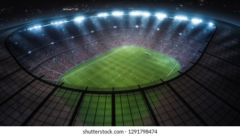 Photo of a soccer stadium with ongoing game at night. The stadium was made in 3d without using existing references.