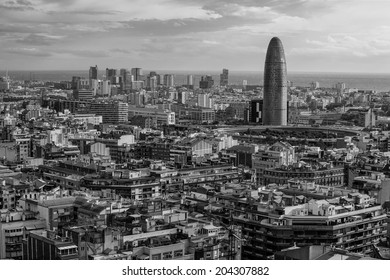 Photo of Spain, overlooking the beautiful city of Barcelona. Done in black and white.