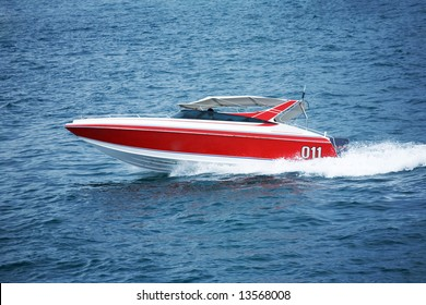 A photo of a speed motor boat