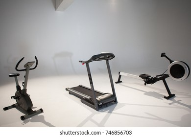 Photo of a sports hall with simulator. The concept of a healthy lifestyle.