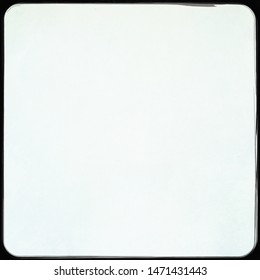 Photo of square format frame with filled plain pale blue colour for use as background, backdrop or template for card note poem or haiku or double exposure image with blank copyspace