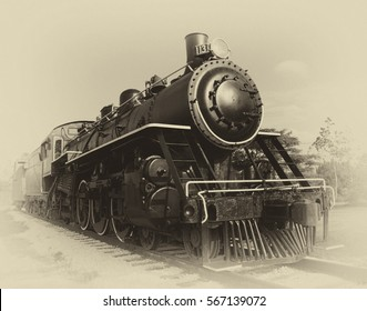 Photo of a steam locomotive engine circa 1890's-1910's that was used in the Florida Railway System. Photo has been edited for an antique/vintage look.