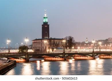 Photo of Stockholm City Hall (Stadshuset) at Night, Sweden