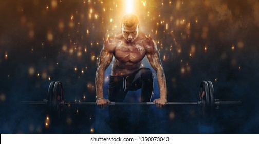 Photo of strong muscular bodybuilder athletic man pumping up muscles with barbell on fire background. Workout energy bodybuilding concept.