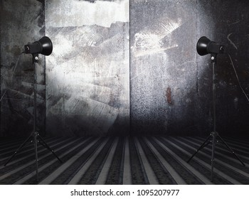 photo studio in old grunge room with metallic wall, urban background